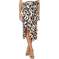 Junxiang Women's Sexy Leopard Print Wrap Bowknot Tie High Waist Belted Split Midi Skirt
