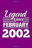 Legend Since February 2002 Notebook: Lined Journal - 6 x 9, 120 Pages, Affordable Gift, Purple Matte Finish