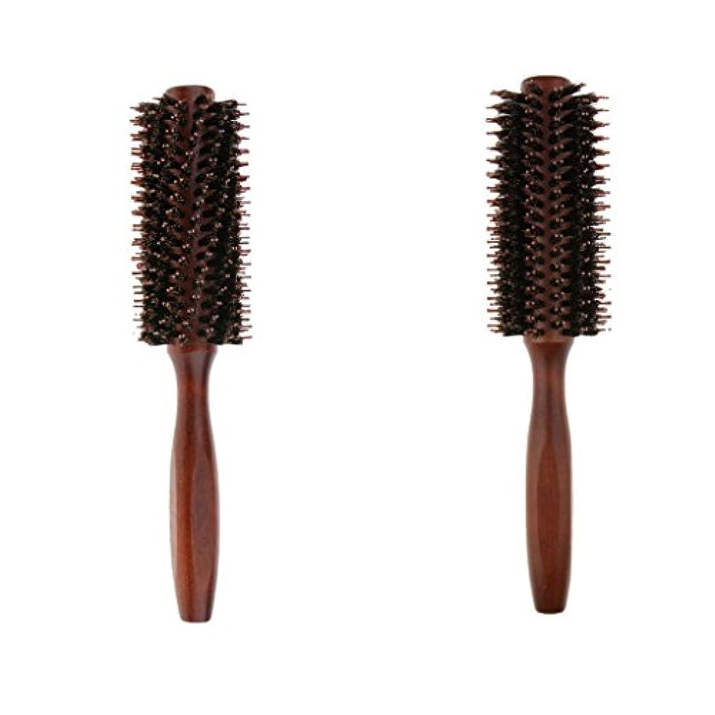 時代楽観差別化するB Blesiya 2個 ロールブラシ ヘアブラシ ヘアカラーリング用 木製櫛 静電気防止 耐熱コーム 巻き髪