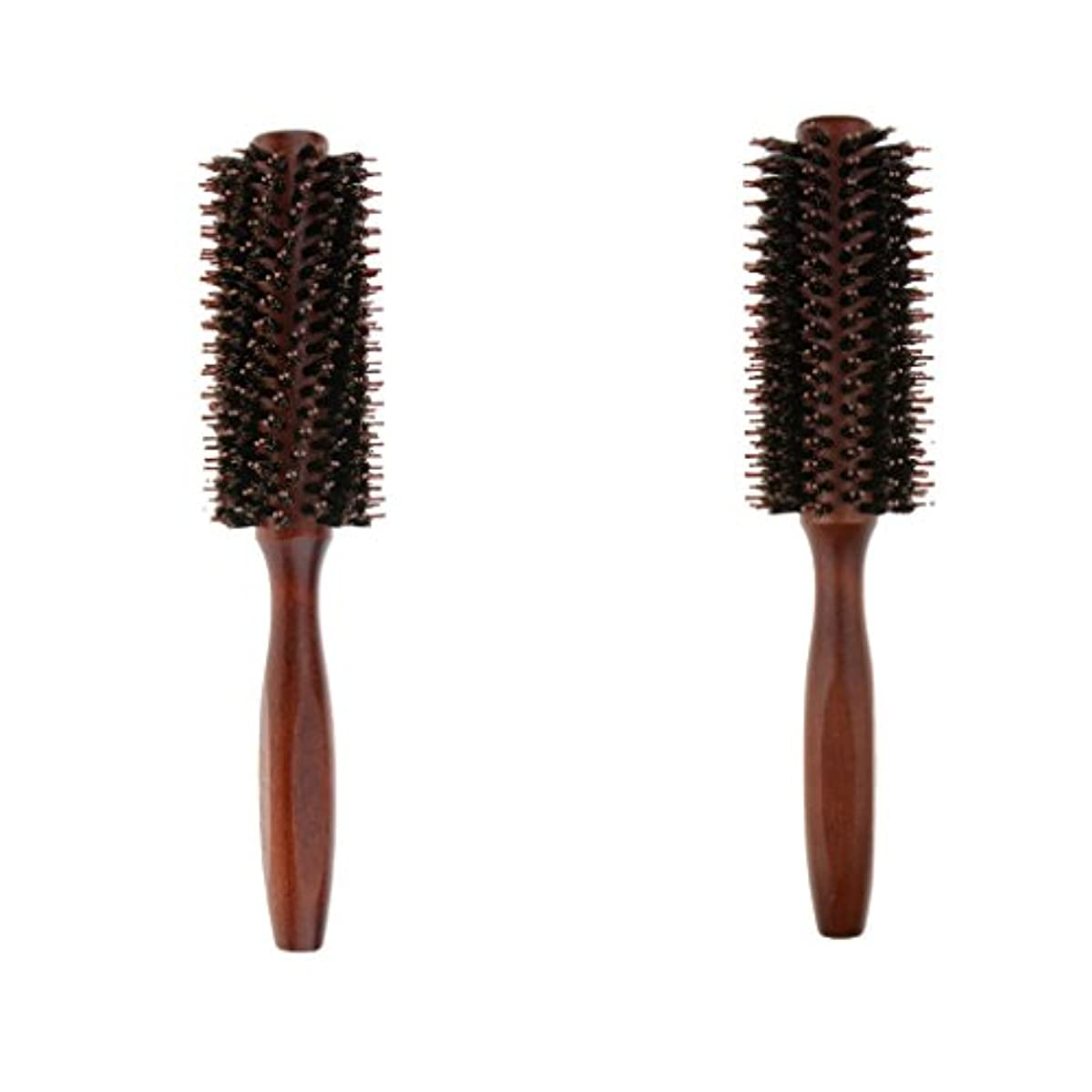 でる抵当高い2個 ロールブラシ ヘアブラシ ヘアカラーリング用 木製櫛 静電気防止 耐熱コーム 巻き髪