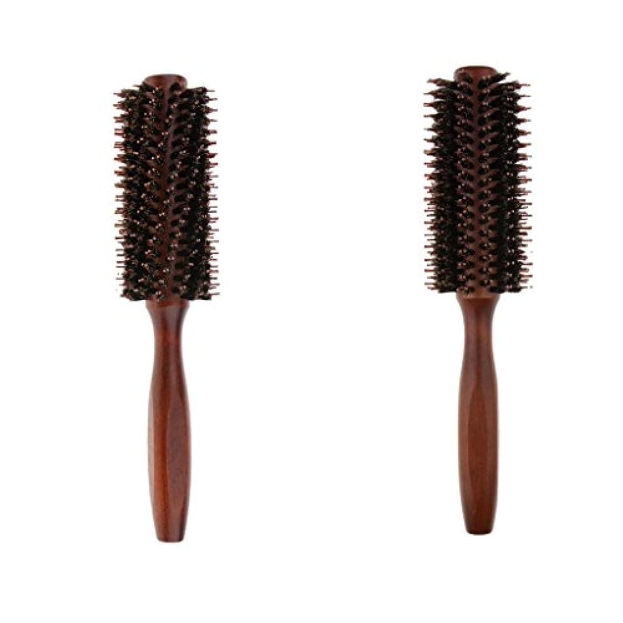 不振バクテリア止まる2個 ロールブラシ ヘアブラシ ヘアカラーリング用 木製櫛 静電気防止 耐熱コーム 巻き髪