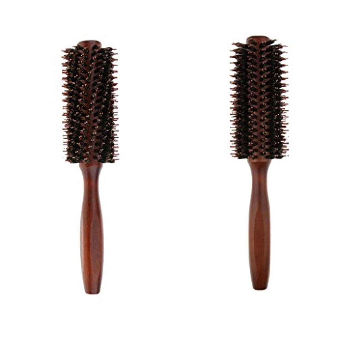 うれしい二層進行中B Blesiya 2個 ロールブラシ ヘアブラシ ヘアカラーリング用 木製櫛 静電気防止 耐熱コーム 巻き髪