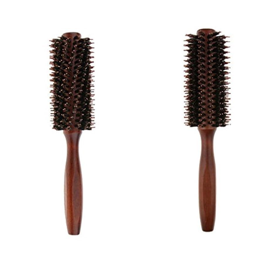 通行料金流産顎2個 ロールブラシ ヘアブラシ ヘアカラーリング用 木製櫛 静電気防止 耐熱コーム 巻き髪