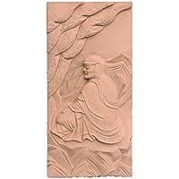 木彫仏像 達磨大師 壁面座像レリーフ 20cm 柘植