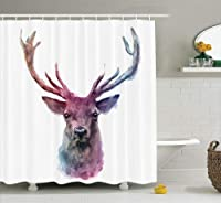(180cm W By 180cm L, Multi 3) - Deer Decor Shower Curtain Set By Ambesonne, Illustration Of Male Stag With Soft Pale Colours Antlers Wildlife Nature Artful Print, Bathroom Accessories, 69W X 70L Inches, Pink Lilac