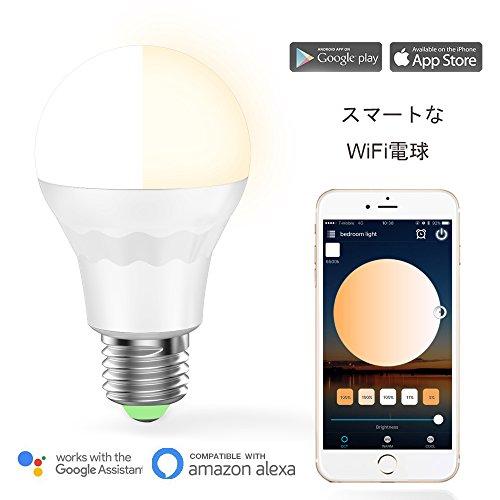 Magic Hue WiFi LED電球AlexaとGoogle Homeで使用, 日の出と日没 ワット数 E26口金 玄関灯 色温度電球色 暖かい白 色&冷かい白 色調節可能な調光相当の60W白熱電球相当は、とスマートフォンで動作します