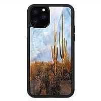 iPhone 11 Pro Max 用 強化ガラスケース クリア 薄型 耐衝撃 黒 カバーケース サグアロ 砂漠の春の季節 iPhone 11 Pro 2019用 iPhone11 Pro Maxケース用