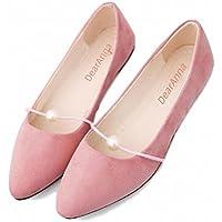 [ディアアンナ] 大粒 パール デザイン ペタンコパンプス フラットシューズ 靴 ヒール 1㎝ パンプス 黒 グレー ピンク