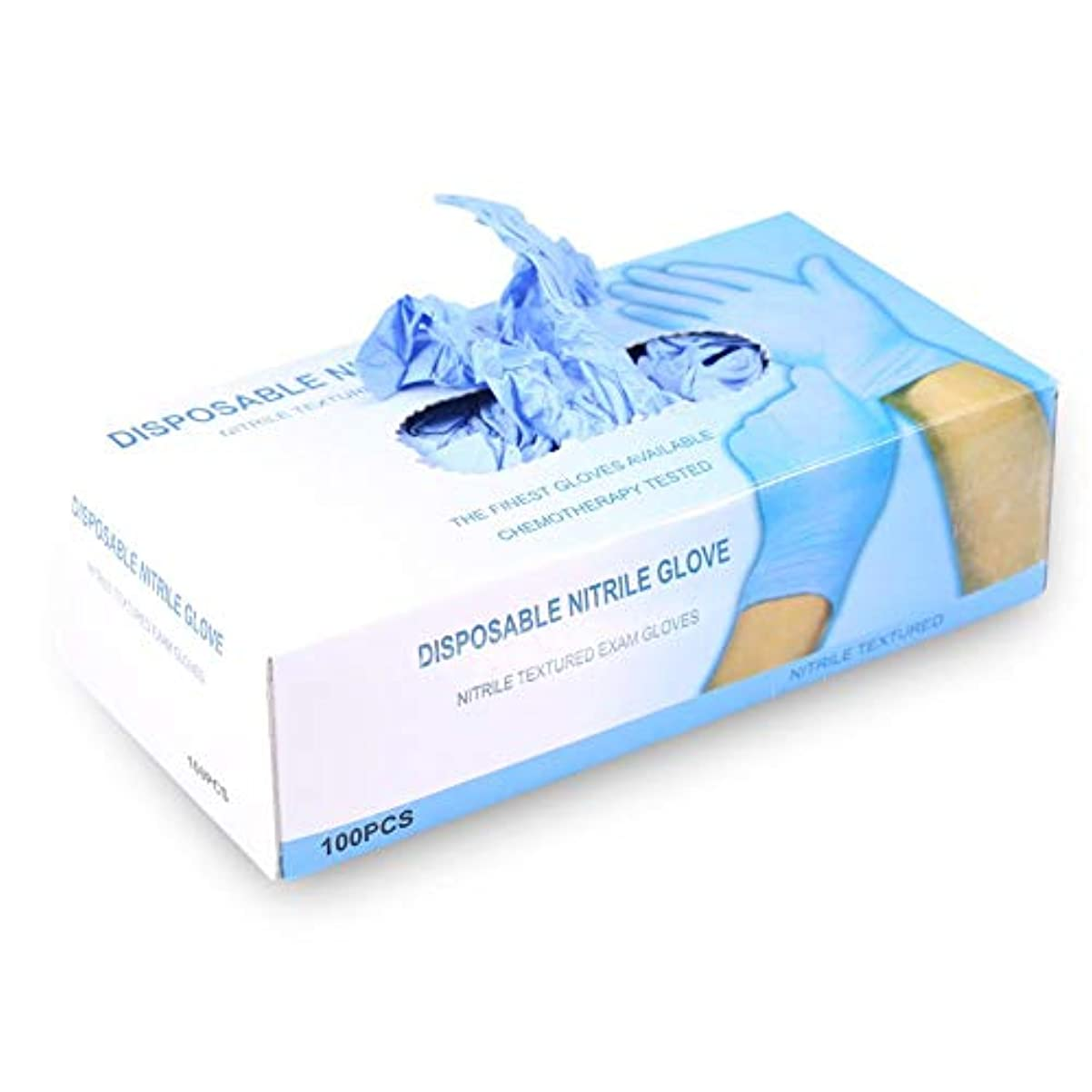 ブルシーケンス帽子100個/箱2色3色タトゥーニトリル 使い捨て パウダー 無料 メカニックテクスチャ 検査手袋(大号-蓝色)