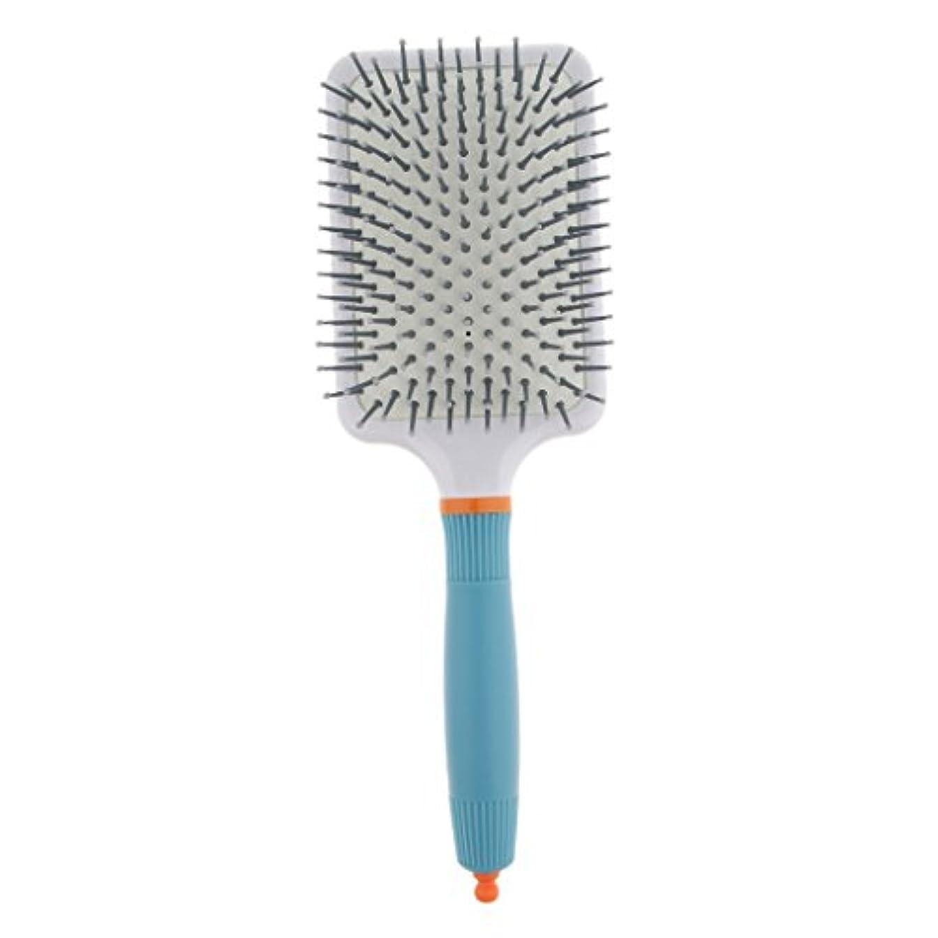 マニュアル手つかずのマントルFenteer 頭皮マッサージ ヘアブラシ 櫛 パドル エアクッション櫛 2色選べる - ライトブルー
