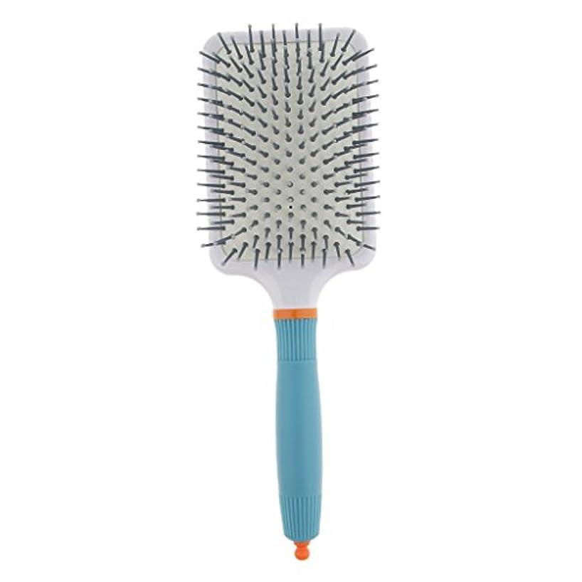 疲れた半円可愛いFenteer 頭皮マッサージ ヘアブラシ 櫛 パドル エアクッション櫛 2色選べる - ライトブルー