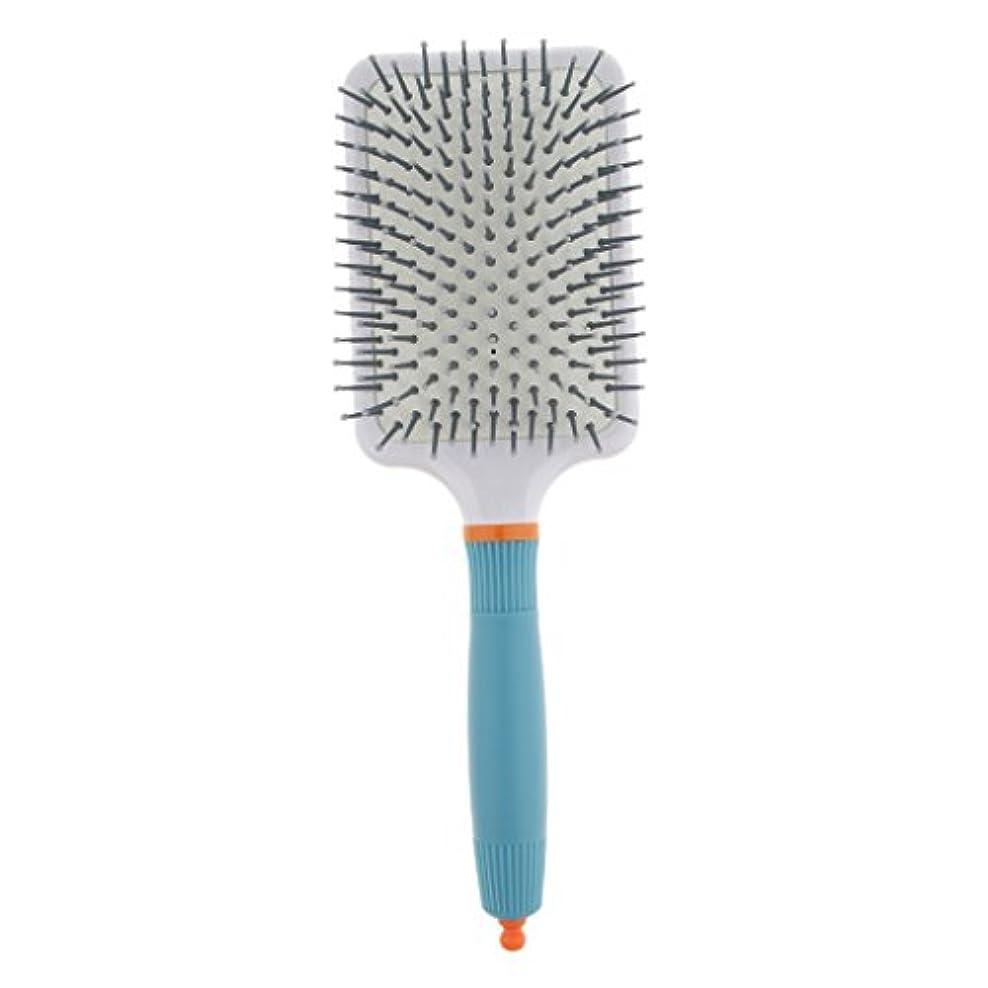 失うもちろん窓を洗う頭皮マッサージ ヘアブラシ 櫛 パドル エアクッション櫛 2色選べる - ライトブルー