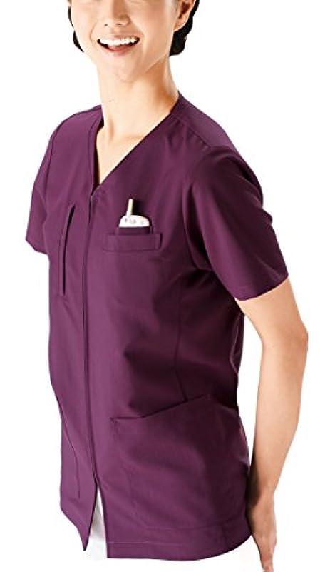 力強い良いセールスマン医療ユニフォーム  スクラブ(男女兼用) KAZEN プラム サイズ:L 174-95