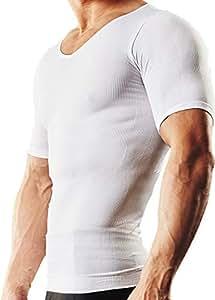 スパルタックス 加圧シャツ メンズ 加圧インナー メンズインナー 半袖シャツ Vネック 補正下着 スポーツインナー トレーニング コンプレッションウェア 加圧 インナーシャツ (白 ホワイト,M)