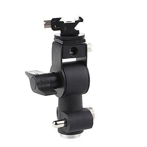 EXMAXブラケットDフラッシュシュー傘ホルダーライトスタンドブラケットfor Canon Nikon Pentax Olympus Nissin Metzと他の標準シューマウントスピードライトが点滅with