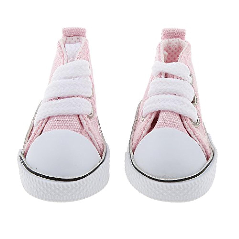 Lovoski 素敵 1/6スケール レースアップ ハイトップ キャンバス シューズ 靴   BJD人形適用 ドール 付属品 9色選べる  - ピンク