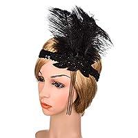 孔雀の羽飾り 女性の大きな羽毛バンドスパンコールダイヤモンドインドの帽子手作りチェーンヘアアクセサリー ヘアバンドウェディング (Color : Black, Size : One size)