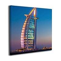 """絵画家族 ドバイ 高層ビル 海 空 風景 Dubai Sailing Hotel Seven Star Hotel 油絵 水彩画 現代絵画 アートパネル 壁飾り 玄関 お洒落 12*12 16*16 20*20 12""""x12"""""""