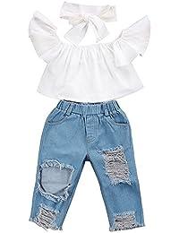 ファッションかわいい人気な赤ちゃん幸運な太陽オフショルダークロップトップス+ホールデニムパンツジャンヘッドバンド幼児子供服 コットンブレンド&デニム素材 (80, 白)