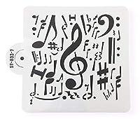 bakellステンシル6x 6音楽コラージュオーケストラスコアバンドト音記号Decorating、ケーキと工芸ステンシルからbakell