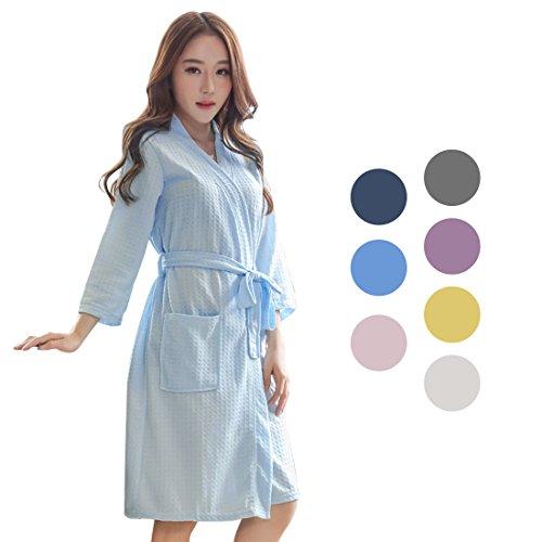 uxcell バスローブ レディース 浴衣式 トルココットン 軽量 ワッフル着物 ショートローブ 女性用 春 夏 ブルー M