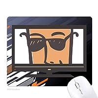 サングラスの抽象的な顔スケッチ絵文字 ノンスリップラバーマウスパッドはコンピュータゲームのオフィス