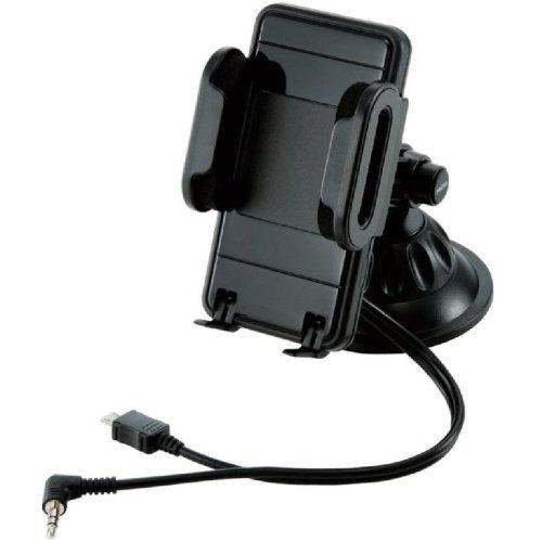 Logitec スマートフォンホルダー FMトランスミッター内蔵 ブラック LAT-MPSH01