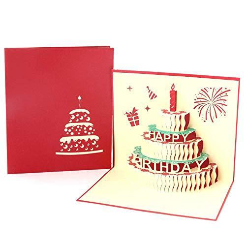 Paper Spiritz 誕生日カード 「誕生日ケーキ」 ポップアップカード 立体グリーティングカード 感謝状 封筒付き