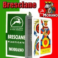 Bresciane Modiano Italian Regional Playing Cards. Authentic Italy Deck. Includes Free Scopa and Briscola Instructions in English.