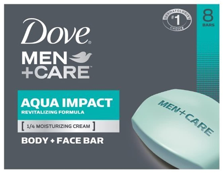 その後定刻承知しましたDove Men+Care Body and Face Bar, Aqua Impact 4 oz, 8 Bar by Dove [並行輸入品]