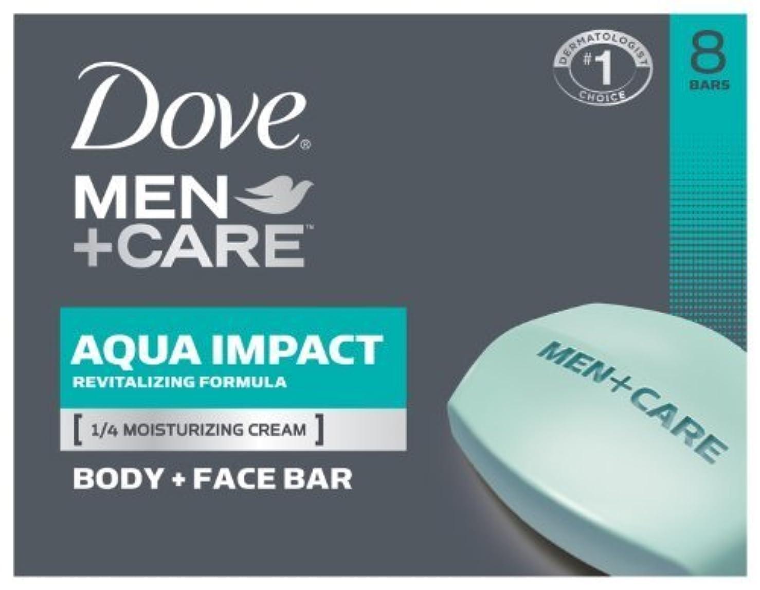 要求発動機甘美なDove Men+Care Body and Face Bar, Aqua Impact 4 oz, 8 Bar by Dove [並行輸入品]