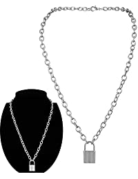Daimay Alloy Choker Necklace Lock Pendant for Women Men Chunky Chain Punk Gothic Necklaces - Silver
