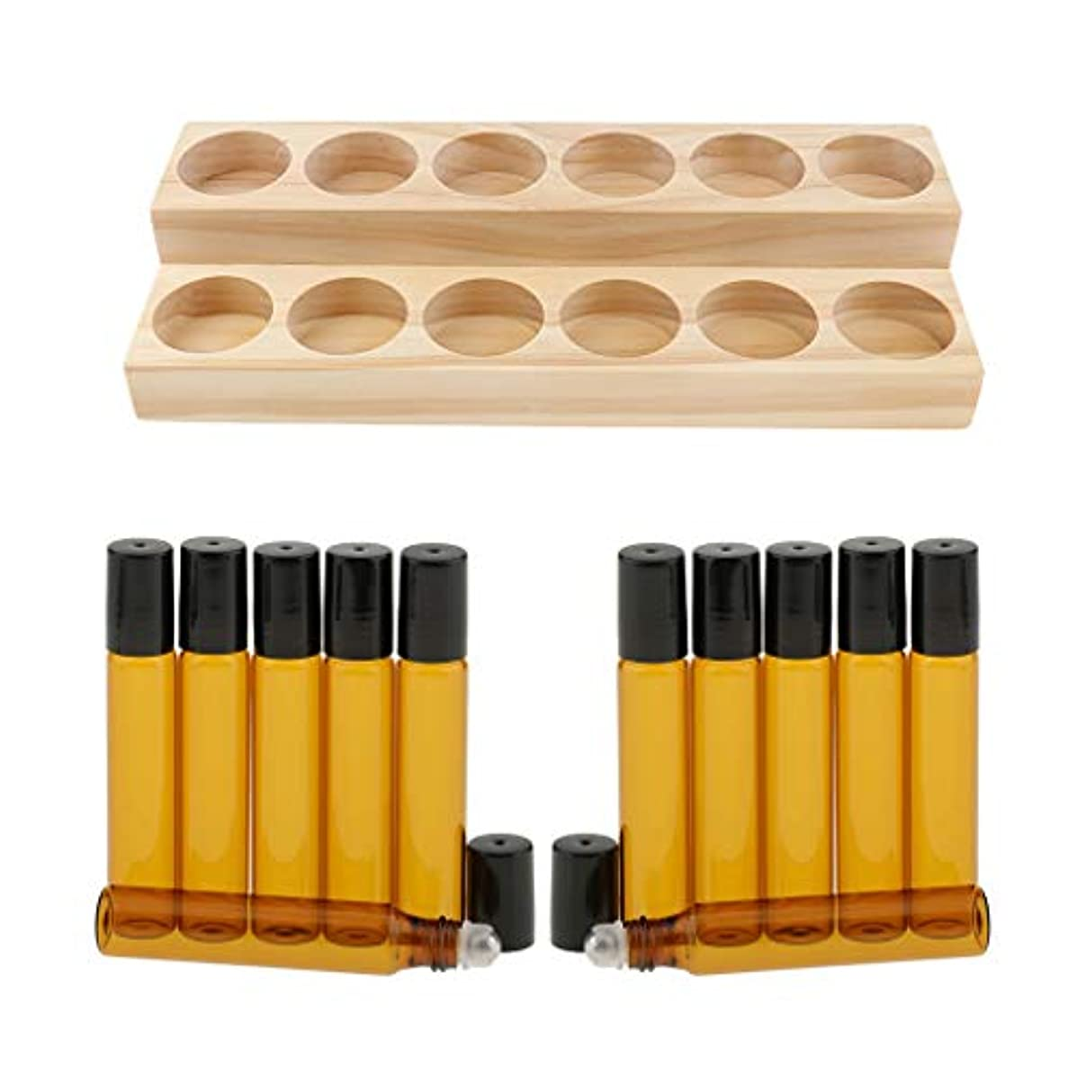 宝石道路を作るプロセスフェロー諸島収納ラック オーガナイザー 木製スタンド エッセンシャルオイル 精油 香水 展示 12個ガラス瓶付