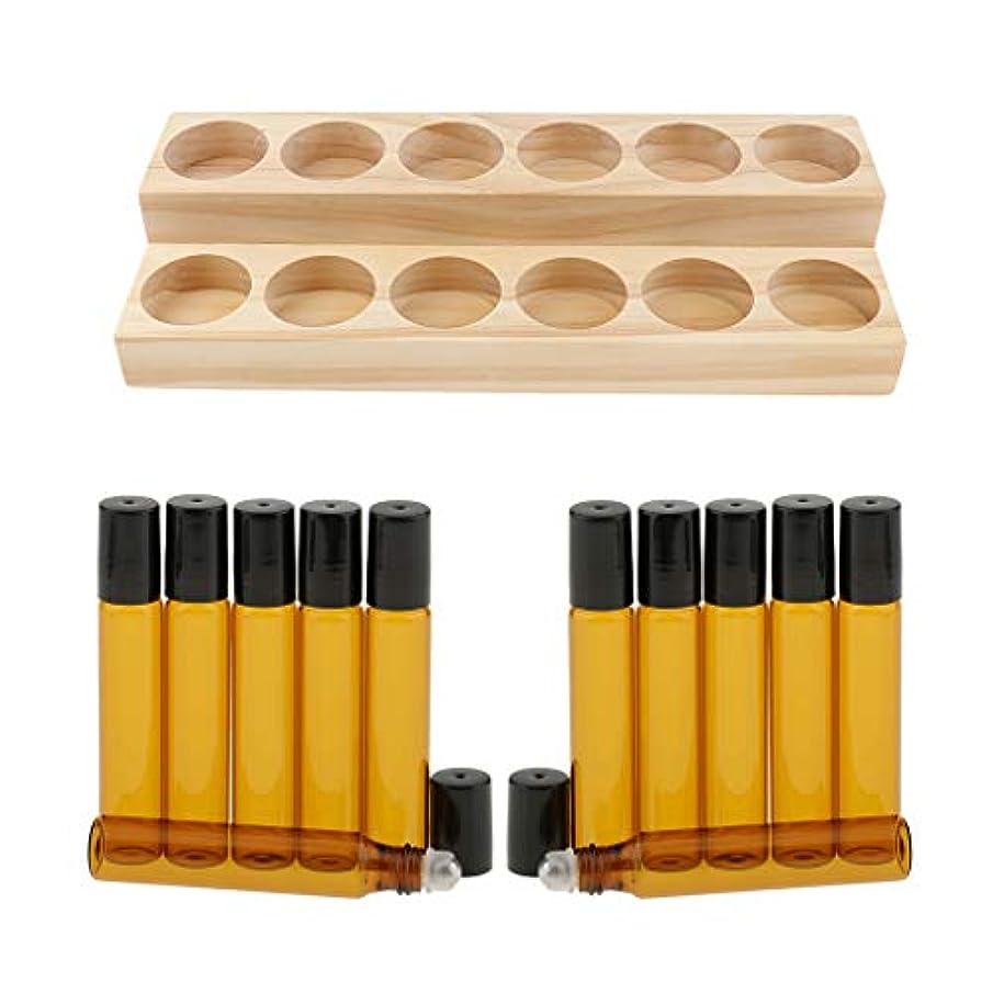 ネックレス粘性の破壊する収納ラック オーガナイザー 木製スタンド エッセンシャルオイル 精油 香水 展示 12個ガラス瓶付