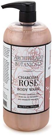 Archipelago Botanicals Charcoal Rose Body Wash, 33 Fl Oz