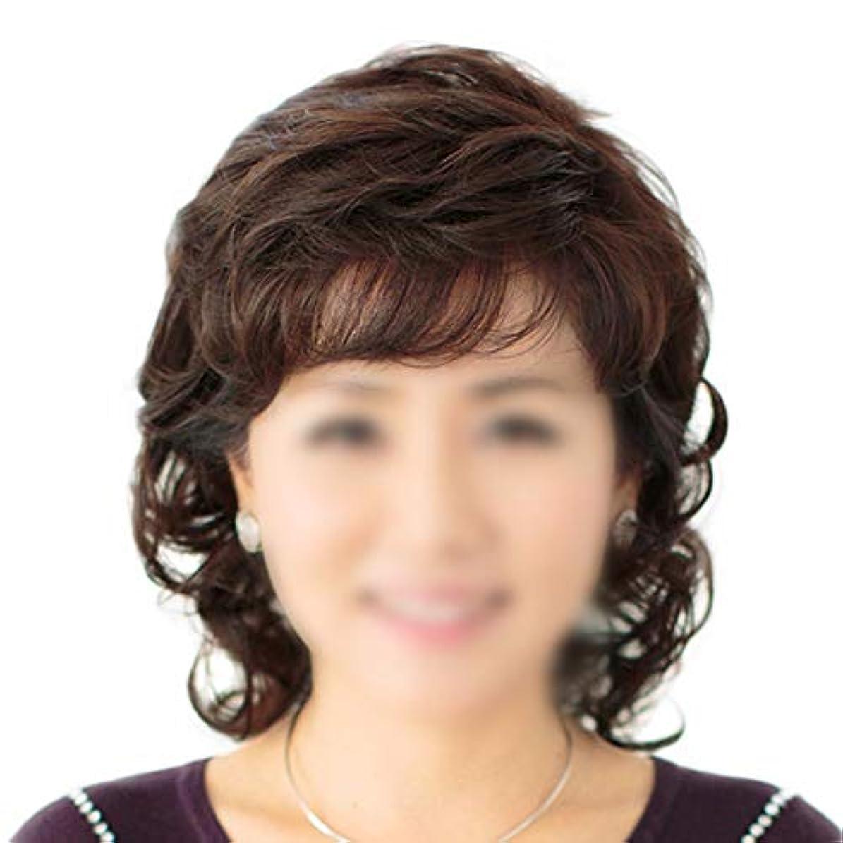 サイトライン性差別口頭YOUQIU 母のギフト中東や旧ウィッグかつら女性のショートウェービーヘアリアルタイムヘアエクステンション (色 : Natural black, サイズ : Mechanism)
