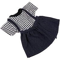 B Blesiya 布製 18インチアメリカガールドール用 セット Tシャツ サスペンダースカート 人形衣装