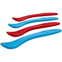 oogaa Baby Weaning Spoons - Easy Clean Baby Safe - 8.5in - Blue and Red - by oogaa