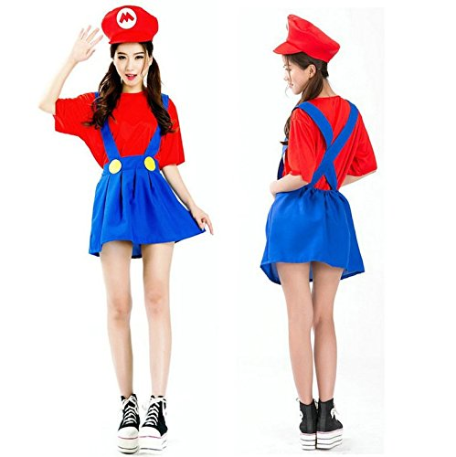 chick スーパーマリオ マリオ コスプレ 衣装3点セット (シャツ+スカート+帽子+ボディシール) フリーサイズ