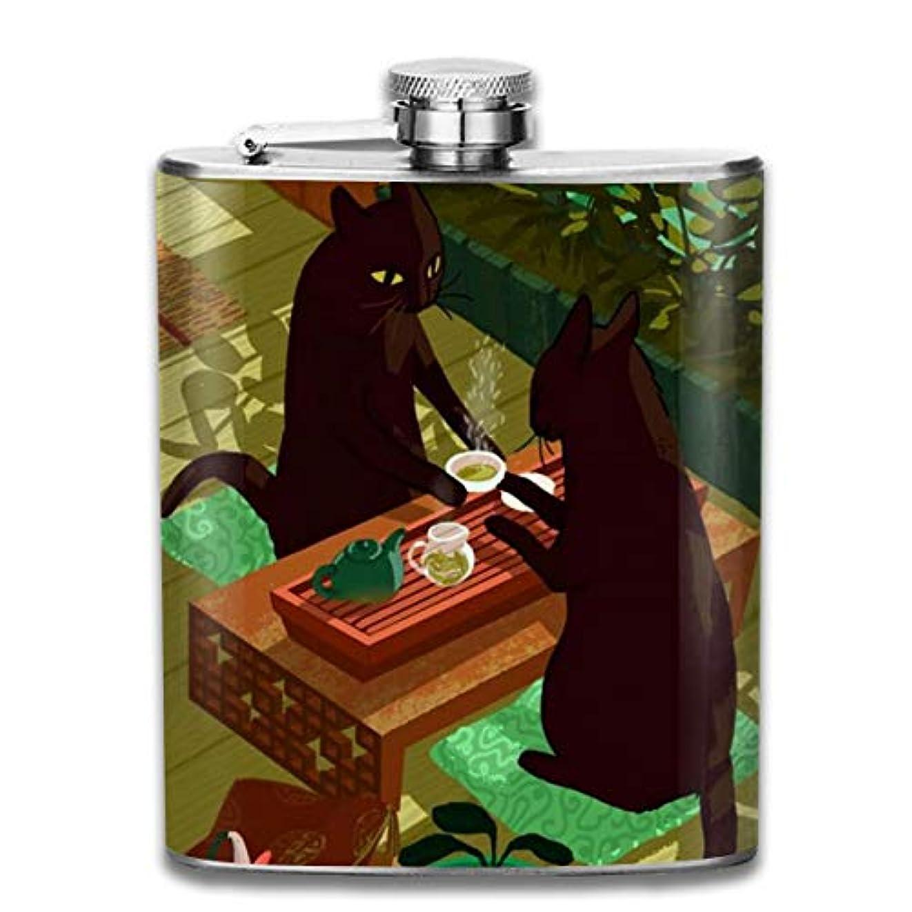 誓うクーポン忠実な猫 浮世絵フラスコ スキットル ヒップフラスコ 7オンス 206ml 高品質ステンレス製 ウイスキー アルコール 清酒 携帯 ボトル