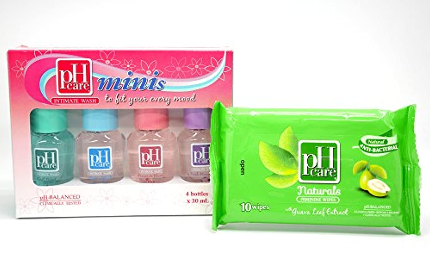 平野適度な不確実(ピーエイチケア)pHcare フェミニンウォッシュ (ミニボトル4本 + シート(グアバリーフ))
