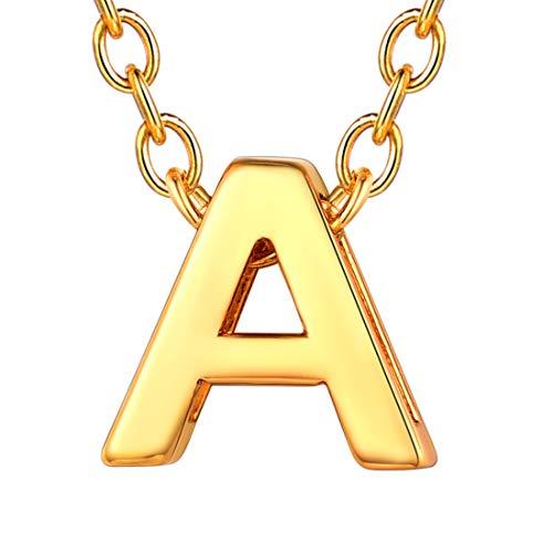 U7 イニシャルネックレスA レディース 18金メッキ ゴールド ペアネックレス シンプル 小さめ 鏡面 おしゃれ 大人可愛い アクセサリー プレゼント女性