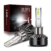 【最新モデル登場】TURBOSII H1 LED ヘッドライト バイク/車用 車検対応 明るい 10000LM(5000LM*2) 60W(30W*2) 12V車対応(ハイブリッド車・EV車対応) ホワイト 6500K 放熱性抜群 静音ファン付き CSP社製ledチップ搭載 1年保証 日本語取説&保証書付 2個入