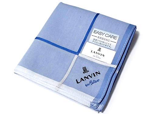 [9]ハンカチ ランバン オン ブルー[LANVIN en Bleu] ブルー系 無地 形態安定加工 綿100% 日本製 48cm メンズ