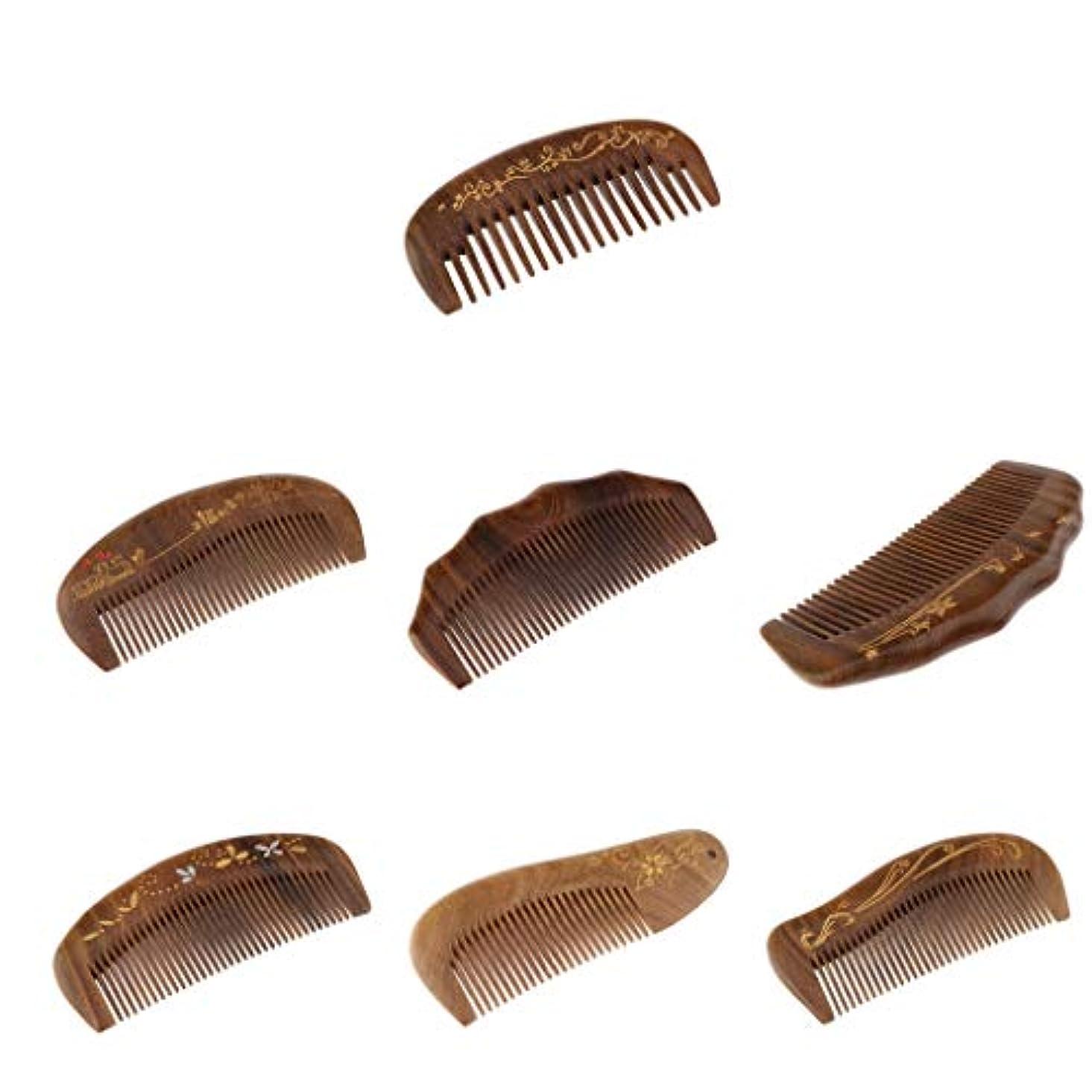 F Fityle 木製 コーム 細かい歯 ヘアブラシ ヘアコーム 全7個