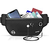AGPTEK Hiking Waist Packs, Anti-theft RFID Blocking Travel Money Belt for Men & Women, Waterproof Running Belt Bumbag with Headphone Hole for Running, Workout , fits Money, Cards, Passports, phones Up to 6.5""