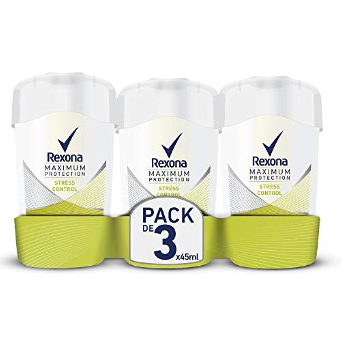 補充仮定荒らす3本セット Rexona レクソナ デオドラント クリーム Maximum Protection Stress Control 45ml【並行輸入品】