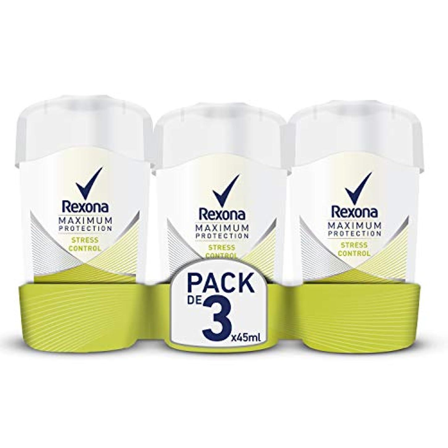 日記購入出費3本セット Rexona レクソナ デオドラント クリーム Maximum Protection Stress Control 45ml【並行輸入品】