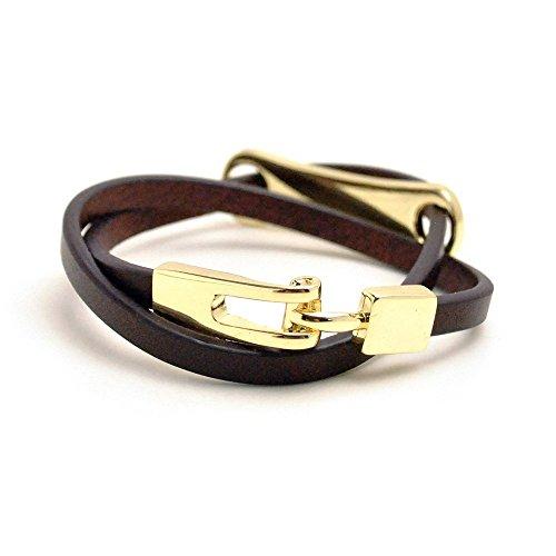 [해외]가죽 거울 마무리 골드 메탈 소형 2 연 가죽 팔찌 [브라운] 여성 여성 심플 발목 팔찌 멋진 성인 고급 파티 우아한 깨끗하게 귀여운 가리 귀여운 세련된 캐주얼 액세서리/Genuine Leather Mirror finish Gold Metal narrow 2 Leather Bracelet [Brow...