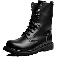 Cover Plus Size 5-11 Black Genuine Leather Military Combat Lace up High Top Boots Mens Shoes